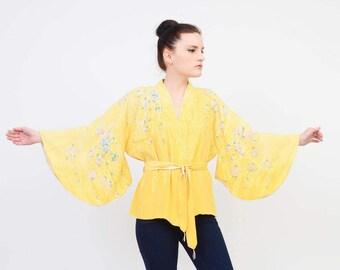 Vintage 60s 70s Kimono Jacket - Yellow Silk Kimono - Bohemian Japanese Floral Kimono Belted Robe - made in Japan ONE SIZE