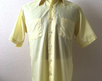 Vintage Mens 80's Yellow Shirt, Short Sleeve by Arrow (L/XL)