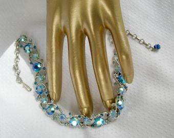 Vintage 50s Necklace AB Rhinestone Dk Lt Blue Rhodium Choker