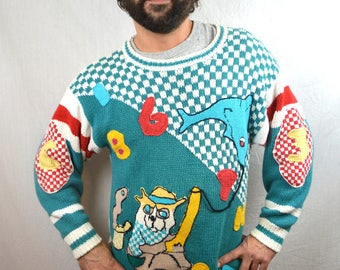 WOW Weird Vintage 80s 90s Knit Sweater - Fishing for a Dolphin?
