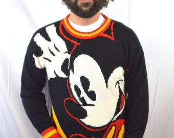Amazing Vintage 80s Mickey Mouse Knit Sweater