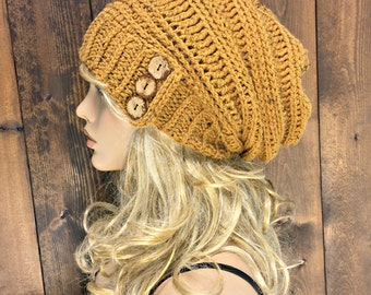 Crochet Slouchy Hat with Coconut Buttons / INDAK / Mustard