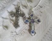 Sky Blue Forget-Me-Nots,Plumosa Ferns Pressed Flower Cross-Symbolizes True Love,Memories, Remembrance-Victorian 2 In 1 Reversible Cross