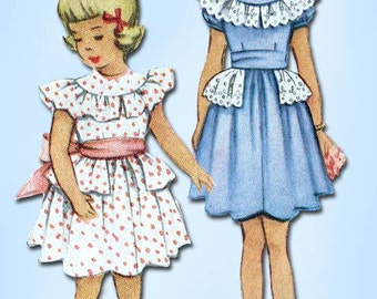 1950s Vintage McCall Sewing Pattern 8048 Toddler Girls Ruffled Dress Size 6 24B