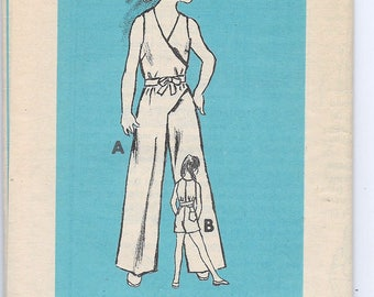 Uncut, Child Size 6, Vintage 1960s Sewing Pattern, Anne Adams Mail Order, Girl, Jumpsuit, Playsuit, Wrap Around, Belt, Sleeveless, Shorts