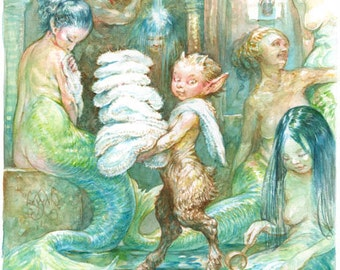 The Towel Boy - original watercolor painting mermaid faun bath