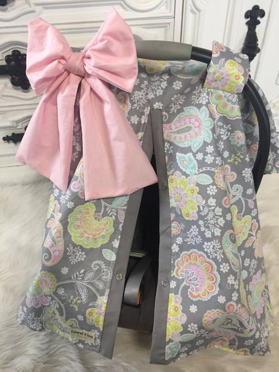 Carseat Canopy Baby Pink And Grey STUNNING Car Seat Cover