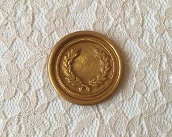 Wreath  Olive Branches Peel  and Stick Flexible Wax Seals, 1.2 Inches in Size with One Inch Adhesive