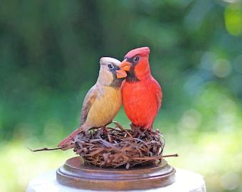 RESERVED for AMANDA - Custom Cardinals in Twig Nest Wedding Cake Topper