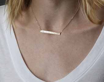 Kids Name Necklace, Present for Her, Long Bar Necklace, Thin Personalized, Location Coordinates Layering Necklace, Personal Gift