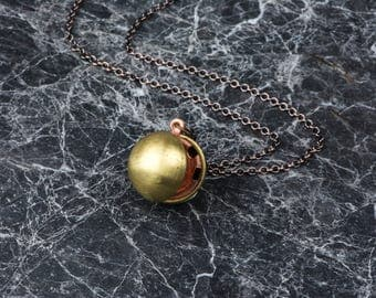 Copper Ball Locket, Small Sphere Necklace, Long Chain with Circle Pendant, Ball Locket, Round Pendant, Small Sphere, Antique Gold Locket