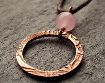 Copper Circle Necklace with Rose Quartz