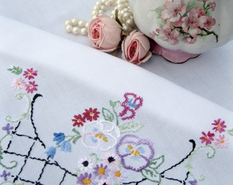 Small Tablecloth with embroidered pansies, Embroidered, Tablecloth, Table Topper, French Country, Cottage Charm, by mailordervintage on etsy