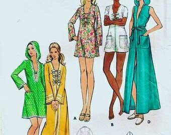 Vintage 1970s Pattern Coverup With or Without Hood Butterick 6070 Bust 36 UNCUT