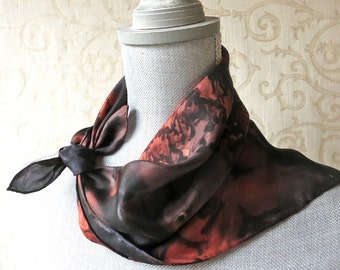 Hand Dyed Square Silk Scarf Bandana in Black and Brown