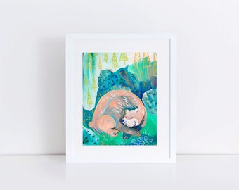 Kids Bear Print, Woodland Nursery Artwork, Little Girls Room Decor, Nature Fine Art Giclee, Sleeping Bear Dunes, Childrens Art, Pink Bear