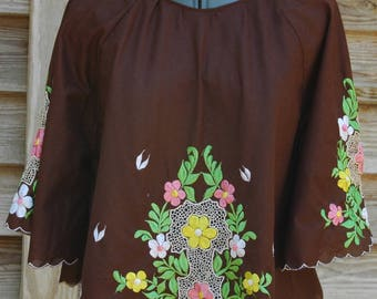 Vintage Dark Brown Embroidered Top 1970s Boho Cropped Top