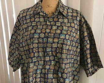 Men's Retro Hawaiian Button Front Cotton Shirt -- Size XL - XXL