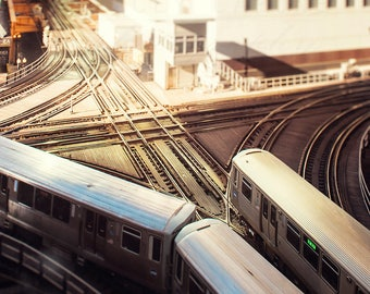 Chicago Photography, El Trains Photograph, Chicago Wall Art Prints - Photo of CTA Train Tracks, Elevated Loop, Urban Home Decor, 8x8 inch