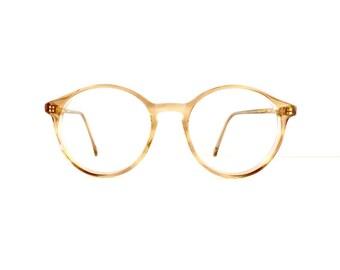 80s 90s AD Safety Brand Off Round Lens Eyeglasses Frames Unisex Vintage 1980's 1990's Translucent Tan Frames with Key Hole  #M605 DIVINE