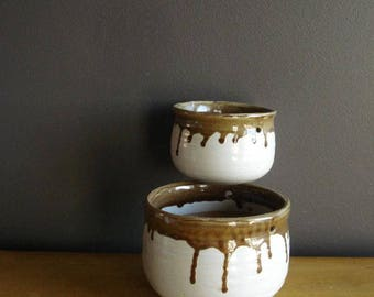 Gorgeous Round Brown and White Planters - Vintage Ceramic Bowls - Mid Century Flower Planter for Hanging Planter