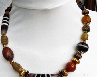 Tibetan Agate Dzi Beads, 22 k gold beads, and Jade Necklace, Beadart-Austria Design. OOAK