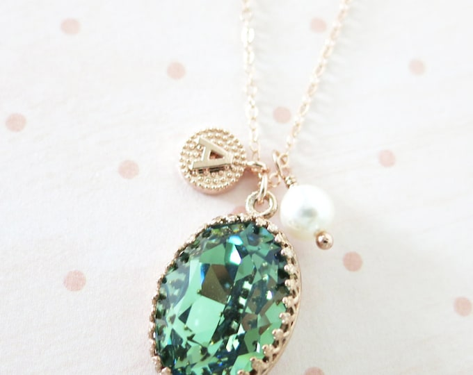 Erinite Green Crystal rose gold necklace, Swarovski Crystal Oval Stone pendant vintage style bridesmaid necklace