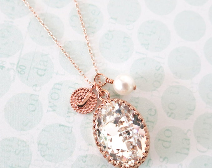 Personalised Clear Oval Crystal rose gold letter initial necklace, Swarovski vintage style bridesmaid necklace