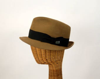 Men's vintage hat fedora Dobbs felt hat brown taupe 1950s 1960s