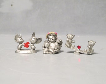 Vintage Miniature Pewter Figurines Chubby Dreamsicles Hugging Teddybear Mice with Red Heart Teddy Bears on Seesaw with Red Crystal Heart