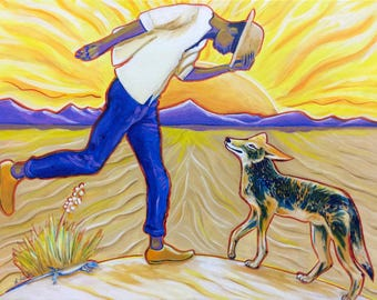 Coyote (desert, painting, mexico, las cruces, new mexico, white sands, sand dunes, lizard, yucca, sunset, sunrise)