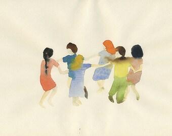 roundelay, dancing children, large original watercolor