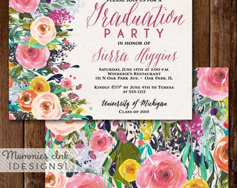 Graduation Party Invitation, Watercolor Flowers Invitation, Floral Invitation, Class of 2017, Open House Invitation, Graduation Announcement