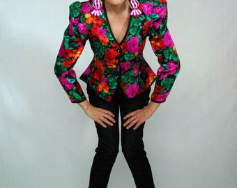 floral silk hour glass 80s dynasty jacket - 1211092