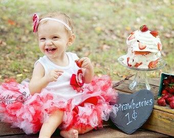 Strawberry Shortcake Birthday Tutu Dress Outfit, 1st Birthday Cake Smash Dress for Baby Girl, Strawberry Dress