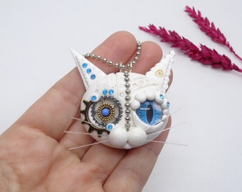 Steampunk Cat, Polymer Clay Cat, Steampunk Jewelry, Clay Cat Pendant, White Necklace, Mechanical Cat, Victorian Jewelry, Steampunk Necklace