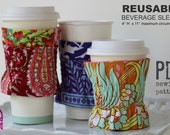 COFFEE COZY PATTERN - Reusable Beverage Sleeve - pdf Sewing Pattern - Cup Sleeve - Tea Cozy - Elastic - Coffee Lover - Hold it Right There