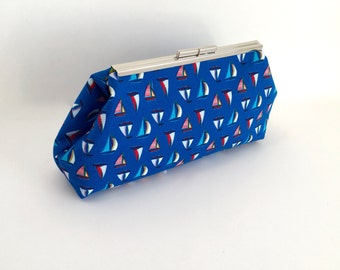 Sailboat clutch, nautical clutch, cotton clutch, sailing clutch, boat clutch, sailboat handbag, nautical gift for her, one of a kind