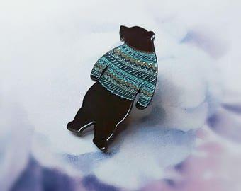 HALF PRICE - Factory Seconds Sweater Bear Pin - X LARGE soft enamel pin - no. 2