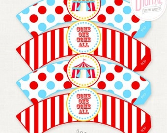 DIGITAL Circus Cupcake Wrappers, Circus Cupcake Wraps, Circus Birthday, Dessert Table, Circus Party Printables, Carnival Party