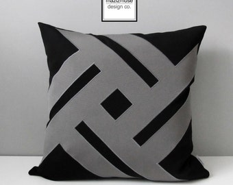 Black & Grey Geometric Outdoor Pillow Cover, Modern Sunbrella Pillow Cover, Decorative Throw Pillow Case, Masculine Cushion Cover, Mazizmuse