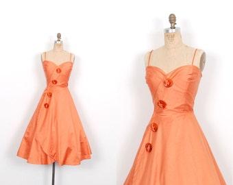 Vintage 1950s Dress / 50s Polished Cotton Fit and Flare Dress / Orange ( medium M )