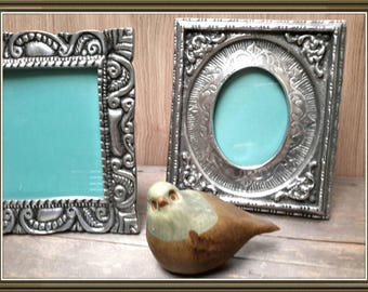 New Mexico Ornate Handmade Silver picture Frames Set of Two Vintage Silver Pewter picture frames c1970s