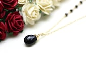 Black Spinel Gemstone Pendant Necklace on Gold   Gift for Woman   Modern, Minimal, Comfortable Jewelry by Azki