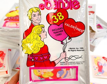 REDUCED Vintage 1980s Valentines Cards / 1988 Barbie Classroom Valentine Cards Including Teacher NOS Set of 38 / Ephemera Doll Collectible