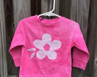 Toddler Girls Shirt, Pink Toddler Shirt, Pink Girls Shirt, Flower Girls Shirt, Girls Flower Shirt, Pink Flower Girls Shirt (18 months)