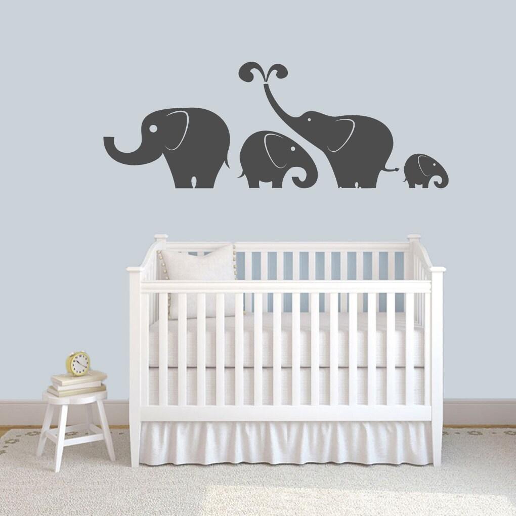 Elephants wall decals set nursery and kid 39 s room decor for Elephant mural nursery