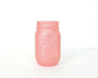 Pink and Gold Blend Glittered Pint Mason Jar, Flower Vase, Wedding Decoration, Makeup Brush Holder, Pen and Pencil Holder