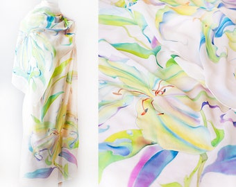 Wedding Cover Up White Silk Shawl Lily Shawl Ready to Ship