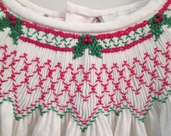 Christmas Bishop Dress, Hand-Smocked, Size 4, White